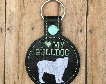 I Love My Bulldog Key Fob, Key Chain