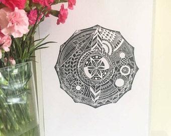 Design 1 : A3 Mandala lino Print
