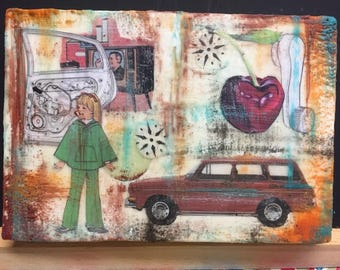"Gas Crisis VW - Original Encaustic Mixed Media Collage - 6.5""x4.5"""