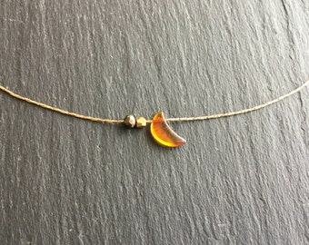 Very dainty necklace plated gold Moon amber Marcasite and faceted ball