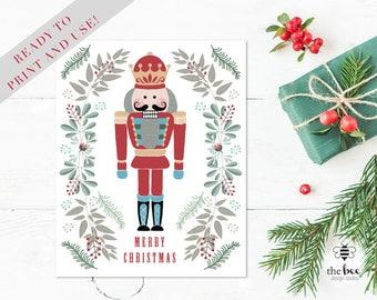 Nutcracker Christmas Card Printable. Tarjeta Cascanueces Imprimible