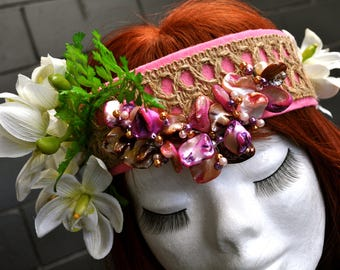 Boho Beach Wedding Orchid Embellished Fantasy Headband Hair Jewellery