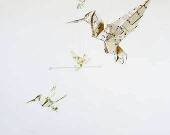Mobile origami 5 birds paper sheet music for interior design notes