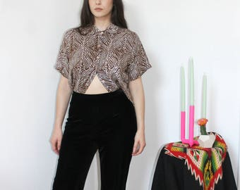 90s cabbage print button up