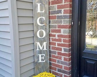 Vertical Welcome sign, Front porch welcome sign, front door welcome sign, large welcome sign, housewarming gift
