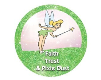 Green and Pink Sparkly Tinker Bell Button - Faith Trust & Pixie Dust Button - Theme Park Button - Disney Park Button - Tinker Bell Button