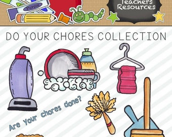 Do Your Chores Clipart Collection for Scrapbooking and Paper Crafts || Commercial Use || Chore Chart Graphics || Digital Design ||