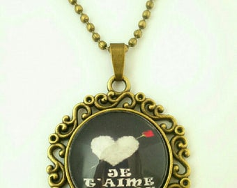 "Bronze cabochon necklace ""I love you MOM"""