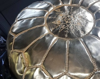 Handstitched Leather Moroccan Poufs