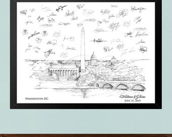 Wedding Guest Book Washington DC Skyline Print, Wedding Guestbook, Bridal Shower, DC Wedding, Alternative Guest Book, Sign-in, Free Pen!