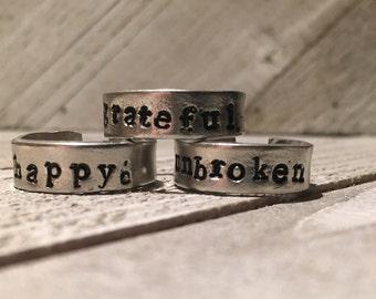 Custom stamped pewter ring