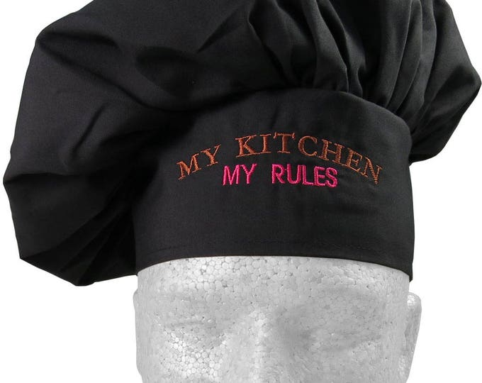 My Kitchen My Rules Humorous Embroidery on an Adjustable Restaurant Wear Black Chef Hat Toque