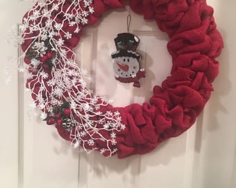 Snow flurry Burlap Wreath