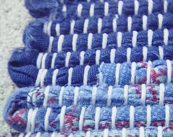 Blue with Red Highlights Rag Rug