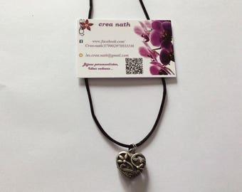 "Black necklace ""Silver heart-"