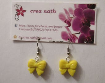 polymer clay yellow bow earring