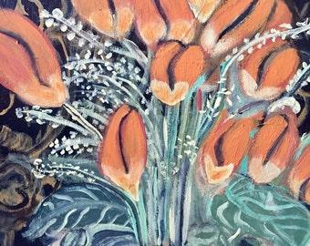 Flower painting. 16x20 acrylic on canvas.