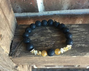 Natural Dream Tiger Eye, Citrine and LARGE Lava Essential Oil Diffuser Bracelet