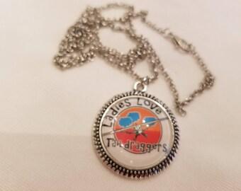 Ladies Love Taildraggers Beaded Edge Pendant Charm Necklace