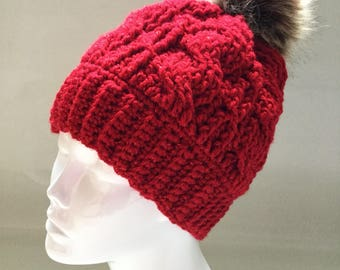 Sparkly Red Harvest Cable Beanie with Faux Fur Pom Pom