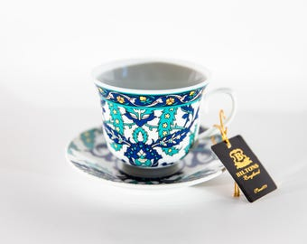 Blue and Turquoise Tea/Coffee Cups & Saucers - Set of 6