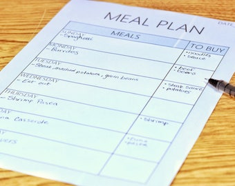 Meal Plan / Meal Prep PRINTABLE Sheet - Breakfast Lunch Dinner Planner - Download - Meal Spreadsheet - Meal Planning