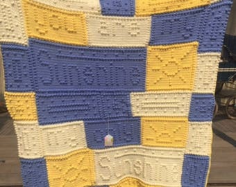 "Crocheted ""You are my Sunshine"" blanket"