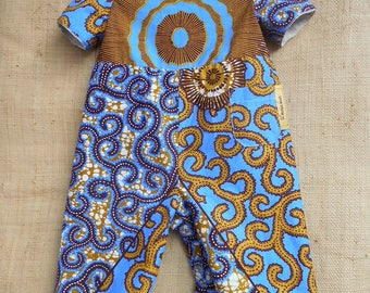 Combination reversible unisex baby 3 to 18 months, cotton fabric, off-white African blue wax