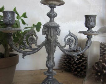 Candle holder old bronze patina old