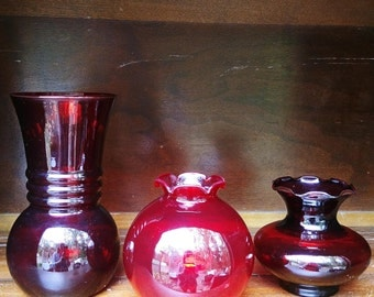 Vintage Ruby Red Glass Vases Anchor Hocking