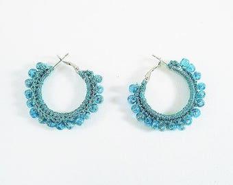 Fabric hoop earrings turquoise blue