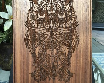 Laser Cut and Etched Owl / Fine Wood - Oak, Cherry or Walnut / Etched / Handcrafted / Custom Art / Wood Plaque