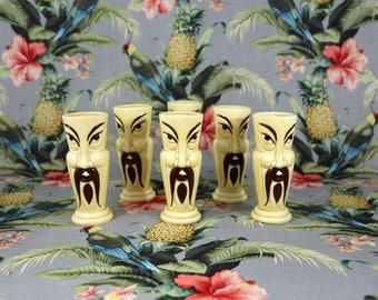 Vintage Orchids of Hawaii Tiki Man Glasses - Set of 6