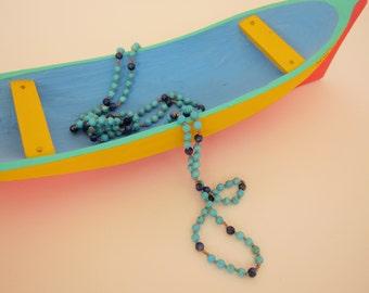 Turquoise-Lapis-Copper Wrap Necklace - Genuine Gemstones & Pure Silk Thread