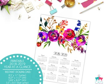 Academic Year-at-a-Glance 2018-2019 | Fransue | Flowers | Digital | Instant Download | Printable