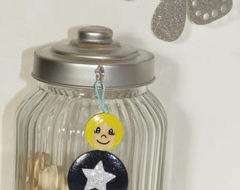 Bag charm, Keychain, name, Blue Navy, Star Sequin, Pearl wood, painted by hand, beads of smiles message