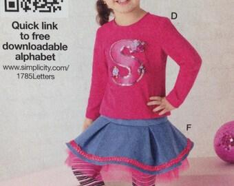 Simplicity 1785 Toddler Skirt, Toddler Dress, Toddler Leggings, Headband, Size 1/2 - 3
