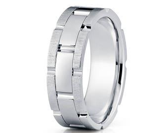 14k White Gold Wedding Band Men & Women Gold Wedding Band Groove Wedding Ring Anniversary Ring Brush Designer Ring