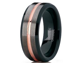 Rose Gold Tungsten Wedding Band Men & Women Gunmetal Tungsten Wedding Band Tungsten Carbide Ring Engagement Band