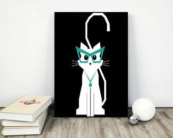 whimsical cat art, nerd cat, cute cat print, white cat print, custom cat print, cat nursery print, cat poster, cat artwork, pet loss gift,