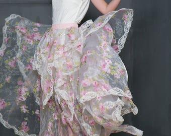 Floral Overskirt for wedding dress, organza overskirt for bridal dress, transperent overskirt, blush skirt,  transperent skirt