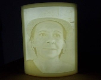 Lamp night light led lithophane made from a photo of your choice