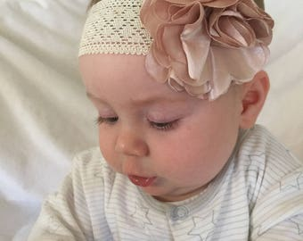 Silk flower pink baby headband