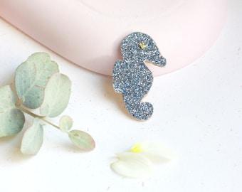Glitter sea horse pin