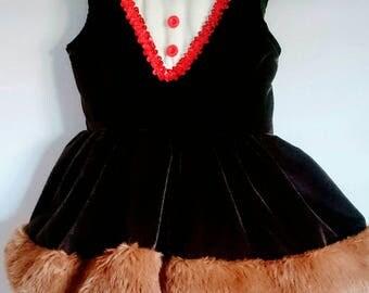 Christmas dress for girl inspired by Rudolf. Noel