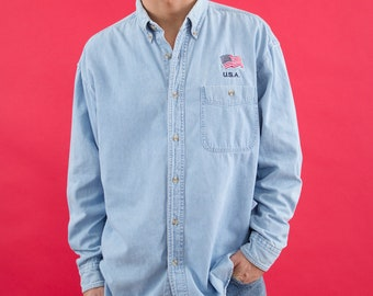 90s, Chambray Shirt, USA, Embroidery, Patriotic, Chambray, Denim Shirt, Button Up Shirt, Hipster, Mens Button Up, America, 90s Clothing