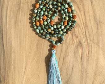 Necklace Mala 108 beads 6 mm African Turquoise and Rudraksha, Hindu /Bouddhiste for meditation or yoga long necklace