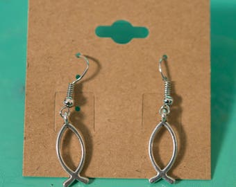 Silver Metal Christian Jesus Fish Earrings