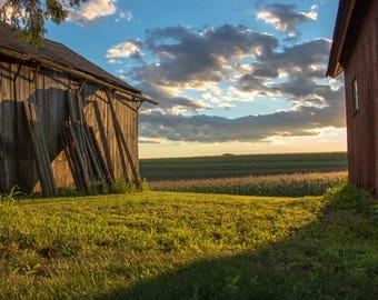 Red Barn at Sunset - Wallingford, Connecticut - Sunset, Farm, Barn, Rustic, Cornfield, Blue Skies, Photographic Print