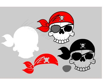 Pirate SVG and Studio 3 Cut File Stencil and Decal Cut Files Skull Logo for Silhouette Cricut SVGS Cutouts Downloads Decals Logos Pirates